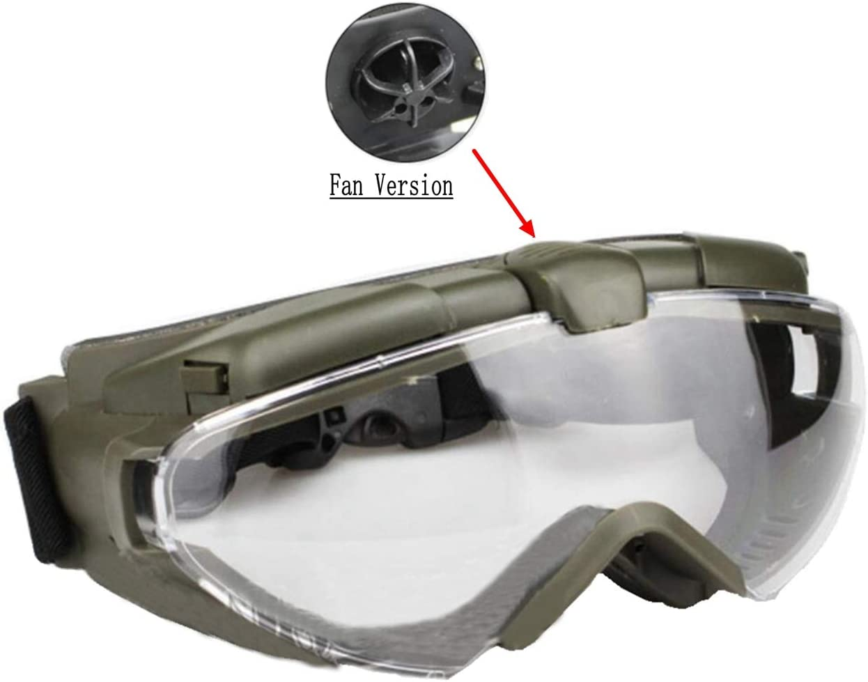 SGOYH Tactical Fan Version Cooler Airsoft Paintball Gafas Regulador Gafas Protectoras para la Caza Snowboard Ski Shooting Bike Deportes