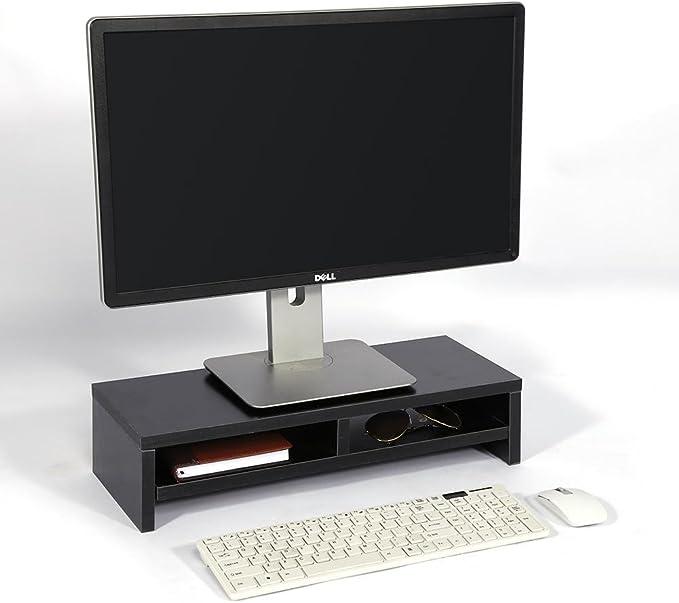 Zoternen Monitor de Escritorio Soporte LCD TV Estante para Computadora Portátil Pantalla de Computadora Plataforma Elevadora Escritorio de Oficina,50 x 20 x 11.7 cm,Color Negro: Amazon.es: Hogar