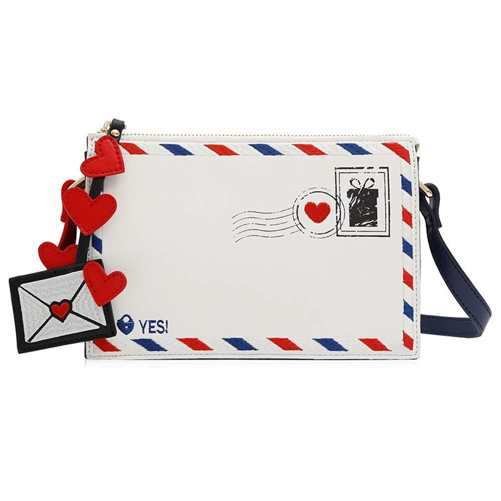 YD ショルダーバッグ - PU/ポリエステル、カジュアルファッション刺繍入りショルダーミニレディースバッグシンプルホワイトソフトフェイスメッセンジャー封筒スクエアバッグ - 21X6X15cm /& B07PZYN2VK