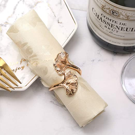 Crystal and Metal Napkin Ring for Dining Room Theme Parties Brass Napkin Ring for Formal Dinners Weddings Receptions Set of 4 Natural Crystal Napkin Rings