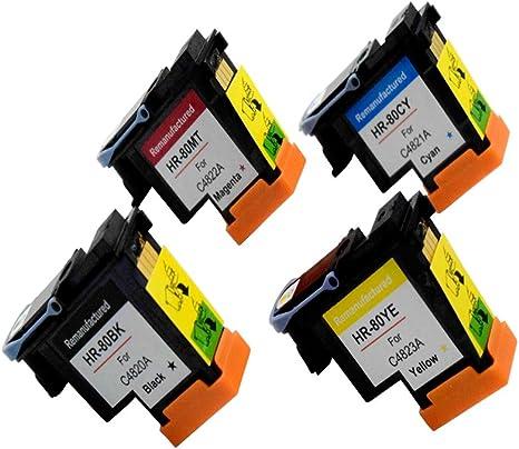Komada HP80 Compatible con 4 x cabezales de impresión (1BK + 1 C + 1 m + 1Y) con nuevos CHIPS actualizado para HP DesignJet 1050 C 1050 C Plus 1055 C 1055 cm 1055 cm Plus: Amazon.es: Electrónica