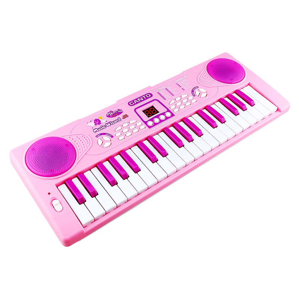 Shayson Piano for Kids, 37 Key Multi-function Electronic Keyboard Piano Play Piano Organ with Microphone Educational Toy for toddlers Kids Children (Pink)