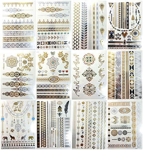 12 sheets gold silver metallic temporary tattoo jewelry-inspired sexy from WholesaleSarong