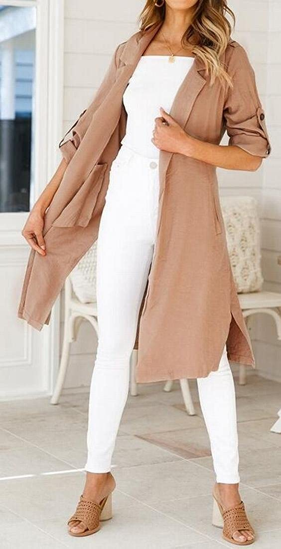 SHOWNO Womens Solid Split Open Front Longline Roll-up Sleeve Trench Coat Cardigan Outerwear