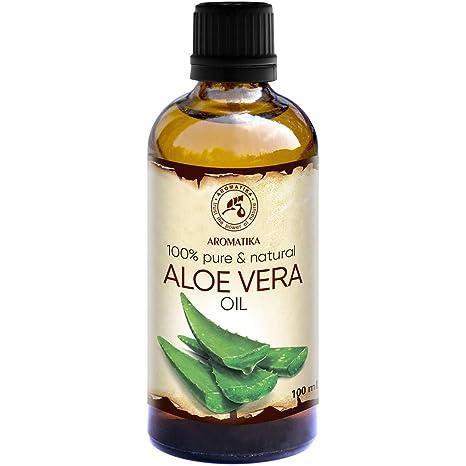 Aceite de Aloe Vera 100ml - Aloe Barbadensis - Brasil - 100% Puro y Natural - Botella de Cristal - Cuidado Intensivo para el Rostro - Cuerpo - Cabello ...