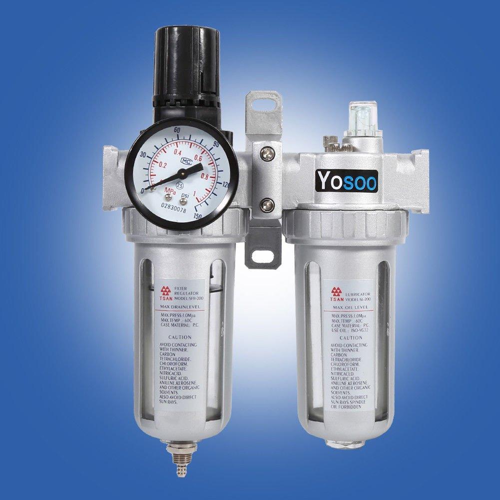 1/4 Druckluft Wasserabscheider Öler Druckminderer Druckregler für kompressor wartungseinheit Yosoo
