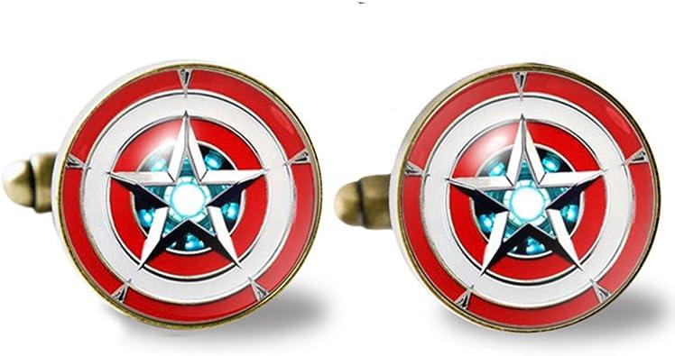 Silver Cufflinks Captain America Superhero Inspired Sterling Silver Cufflinks Captain America Cufflinks Sterling Silver Jewellery