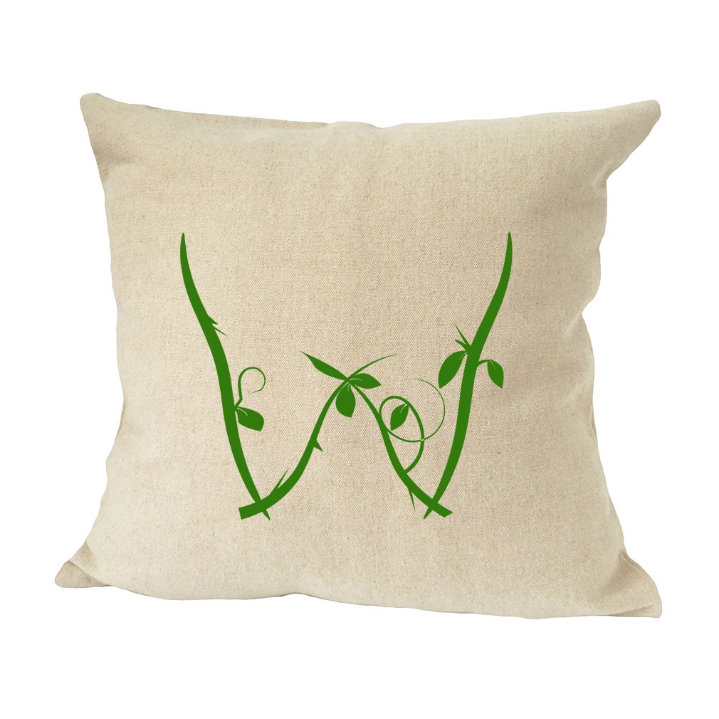 ''W '' Wood Branch Green Monogram Letter W Bed Home Decor Faux Linen Pillow Cover