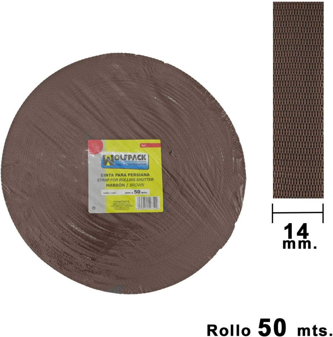 rollo 50 metros Wolfpack 5250005 Cinta persiana 14 mm gris