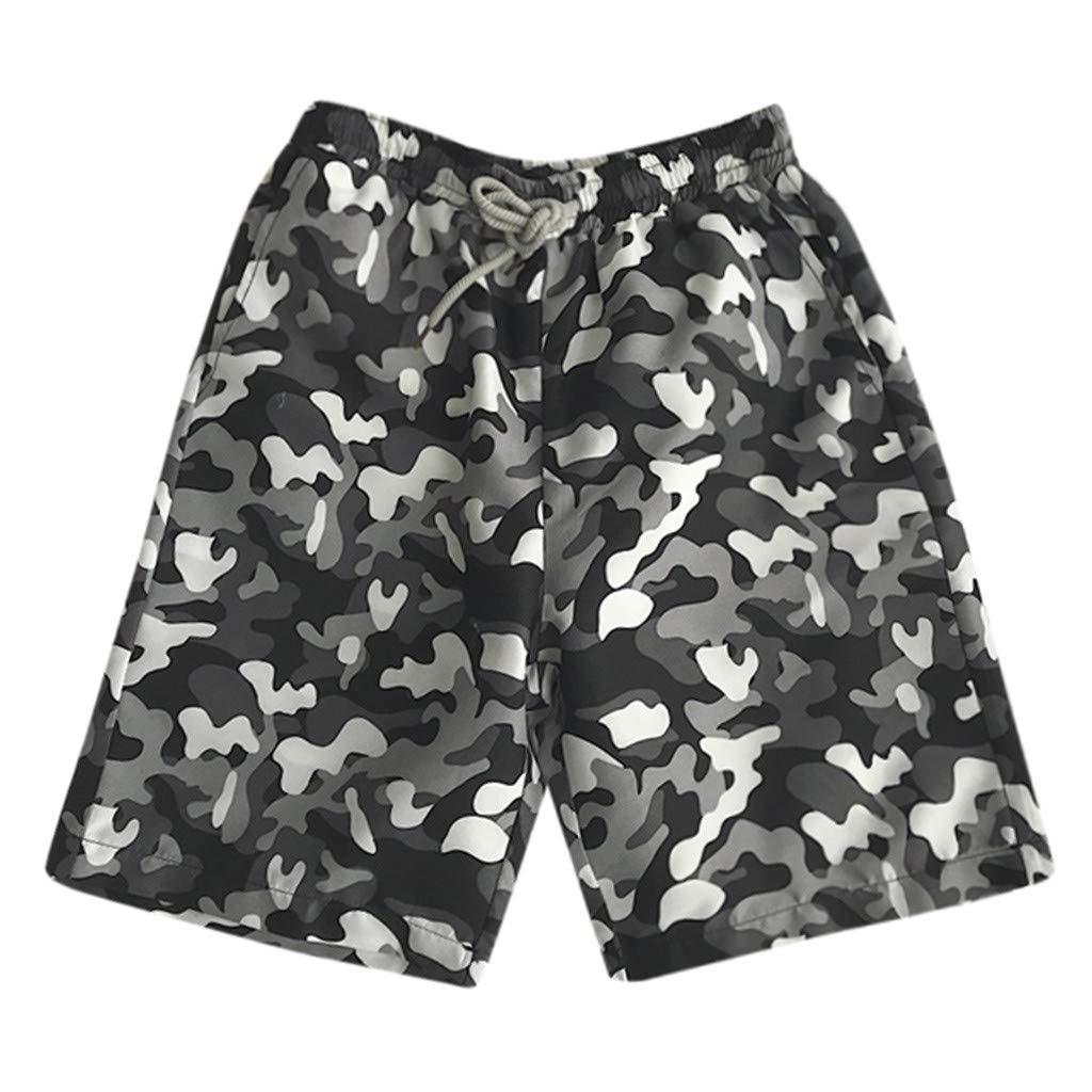 Shorts for Men, F_Gotal Men's Casual Camouflage Printed Pants Elastic Waist Sports Pants Training Jogger Shorts Sweatpants