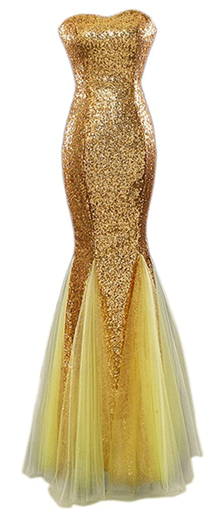 Eyekepper Bridesmaid Strapless Mermaid Sequins Ruching Tulle Wedding