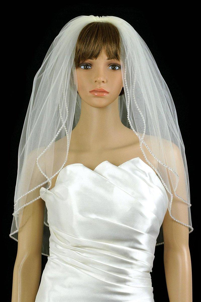 Bridal Wedding Veil Ivory 2 Tiers Long Elbow Length With Rhinestone Edge by Velvet Bridal
