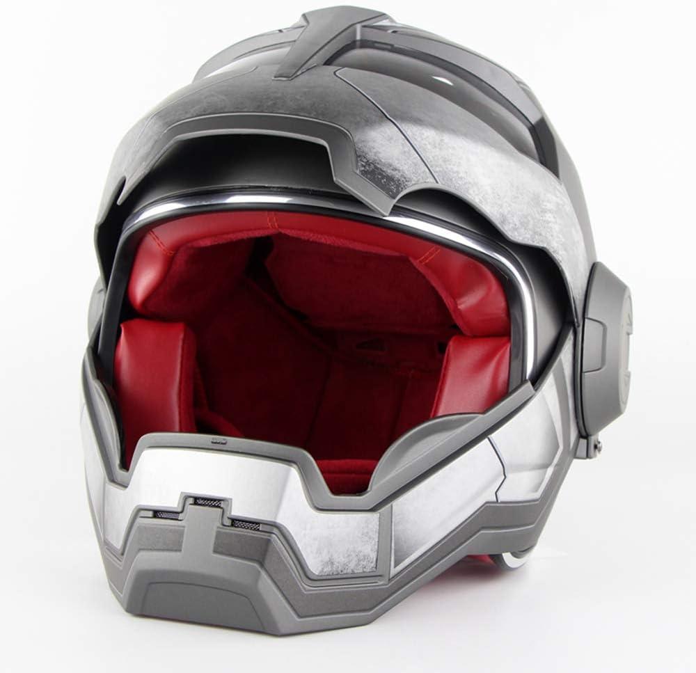 Iron Man Transformers Casco Moto Omologato D.O.T Motocross Casco Moto Casco Moto Aperto Flip XL Grigio,XL60~61CM L M