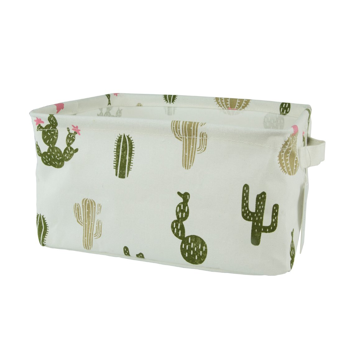 Homiak Canvas Fabric Foldable Organizer Storage Basket with Handle, Collapsible and Convenient for Nursery and Babies Room (Green Cactus)