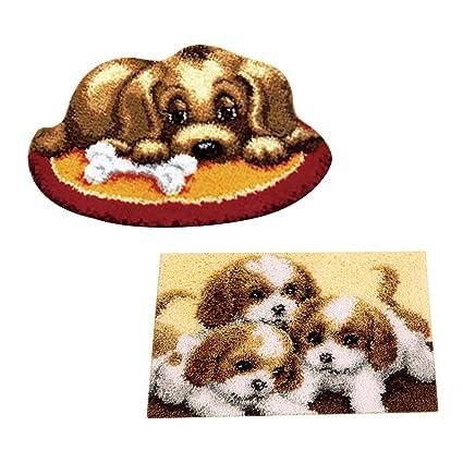 Verschiedene Muster Ausw/ählbar F Fityle Kn/üpfteppich f/ür Kinder und Erwachsene zum Selber Kn/üpfen Teppich Hund