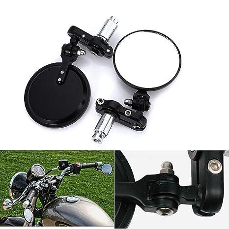 Universal Bar End Mirrors Motorcycle Handlebar Mirrors 7/8 Handle Round for  Aprilia, BMW, Buell, Ducati, Harley Davidson, Honda, Indian, Kawasaki,