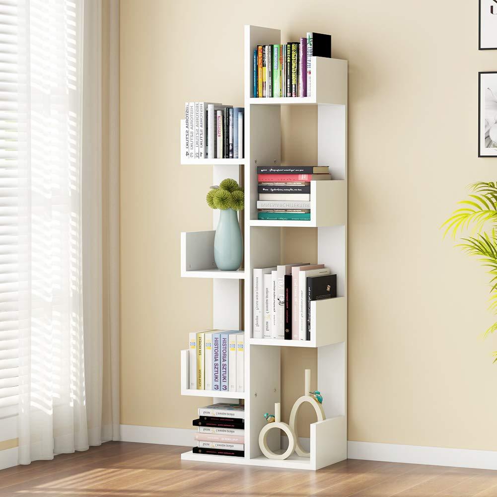 Tribesigns 8-Shelf Tree Bookshelf, Modern Bookcase Book Rack Display Storage Organizer Shelves for CDs, Records, Books, Home Office Deco (White)