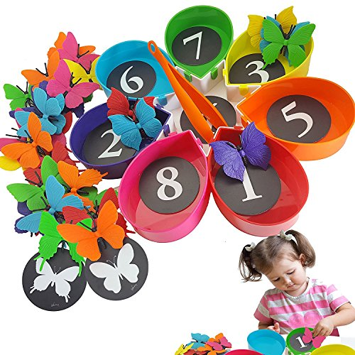 Color Sorting & Counting Toddler Toys - Skoolzy Butterfly Kids STEM Educational Math Manipulatives & Montessori Materials Activities - 75pc Matching Game for 2 3 4 5 Year Old Boys (Math Games For Preschoolers)