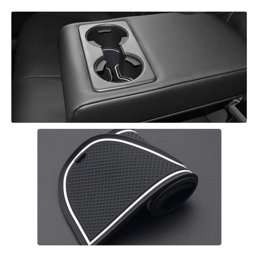 LFOTPP Tappetini Gomma per CX-30 Bianco Tappetino Antiscivolo per Portabicchieri Braccioli Scanalatura Porta Interni Auto