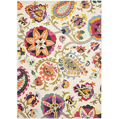Safavieh Monaco Collection MNC229A Modern Colorful Floral Ivory and Multicolored Area Rug (5