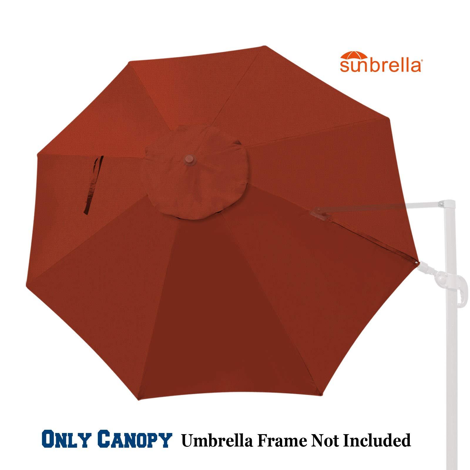 BenefitUSA Replacement Canopy for 11.5ft 8 Ribs Rome Cantilever Patio Umbrella Parasol Top Sunbrella Cover (Henna)