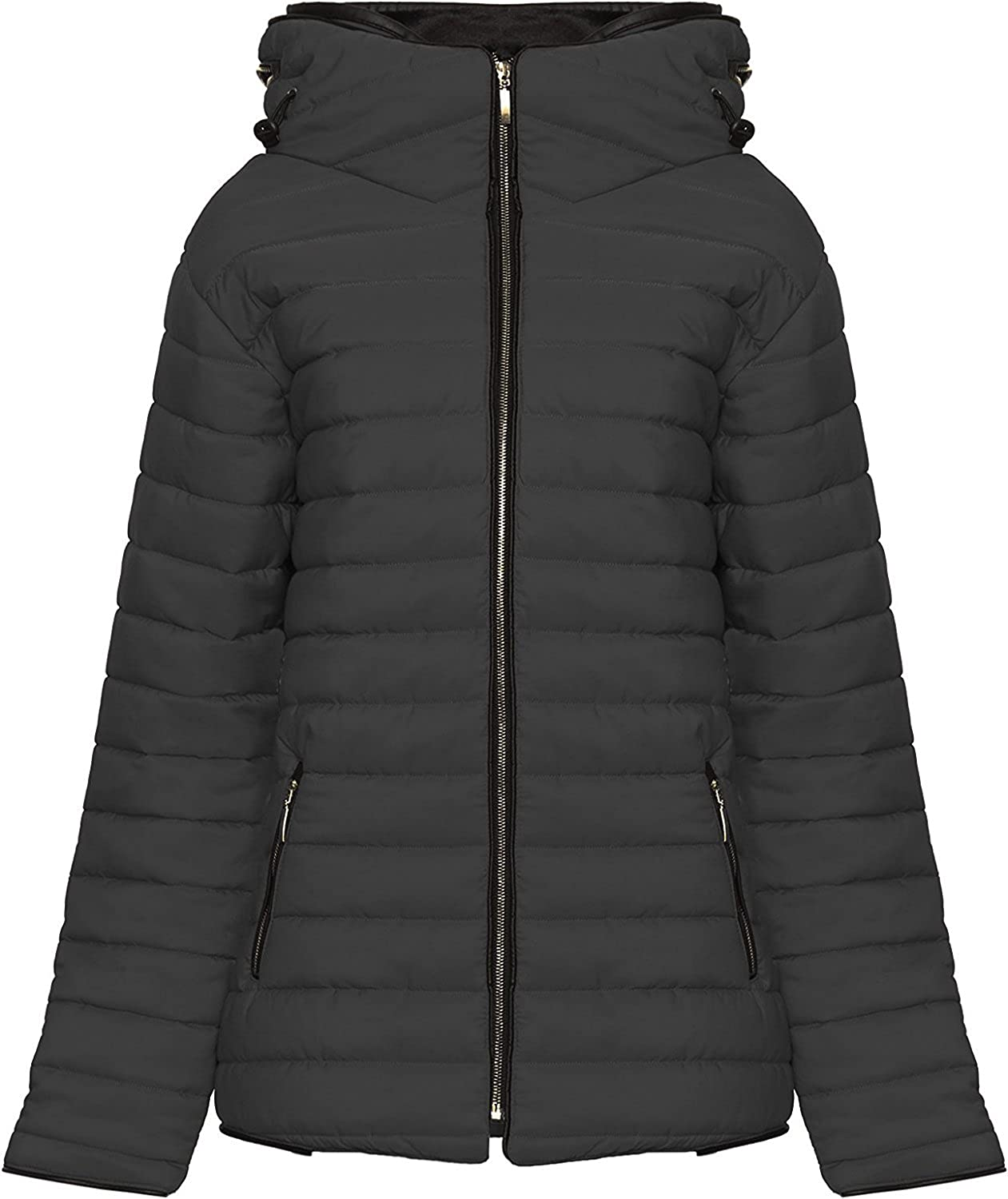 ce72f1bd7 Cima Mode Women Ladies Plus Size Puffa Padded Bubble Quilted Jacket ...