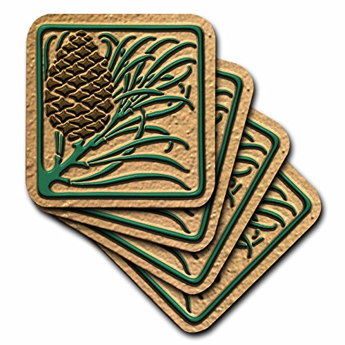 3dRose Photo of Art Nouveau Pine Cone Tile Design- Flat 2D Image not embossed - Soft Coasters, set of 8 (cst_222008_2) Nouveau Cone