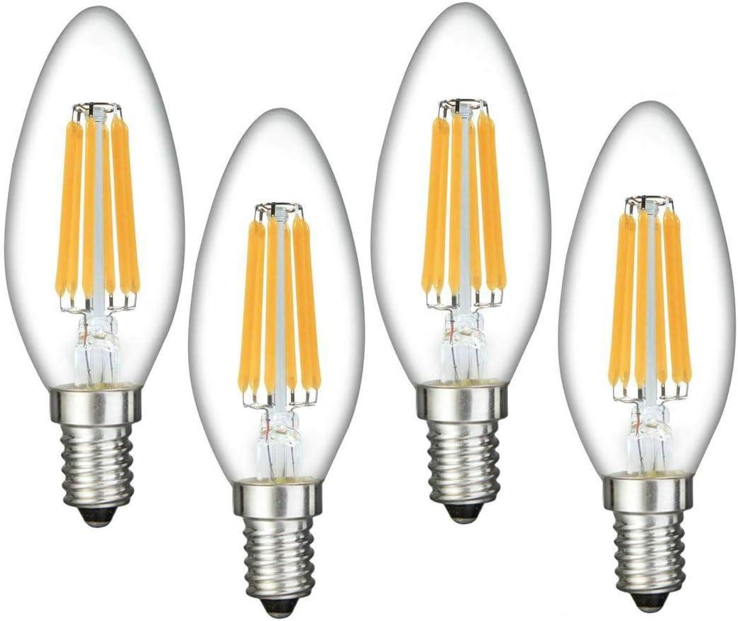 E12 LED Bulb Dimmable, Augeek LED Candelabra Bulb 60W Equivalent(6W) Warm/Soft White 2700K Chandelier B11 LED Light Bulb for Home, 360 Degree Beam Angle, UL Listed (4 Pack)
