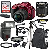 Nikon D5500 24.2 MP DSLR Camera (Red) with AF-P DX NIKKOR 18-55mm f/3.5-5.6G VR Lens Bundle includes 32GB Memory + TTL Flash + Deluxe Backpack + Professional Accessories