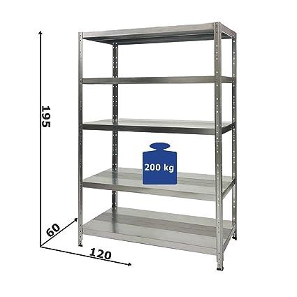 Scaffali In Ferro Zincato.Scaffale Maciste Alta Portata In Metallo Zincato 120 X 60 X 195h A