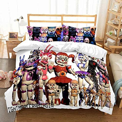 Supstar Kids Bed Sets Bedding Boys Twin Five Nights at Freddy's Comforter Cover 3 Pieces Including 1 Duvet Cover and 2 Pillowcase FN7
