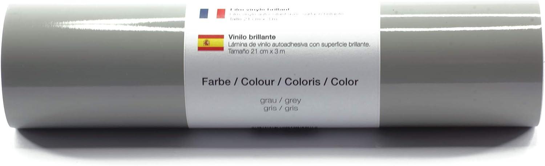 Lámina de plotter autoadhesiva lámina de vinilo 21 cm x 3 m brillo 39 colores a elegir, Glänzend L-Serie:Gris: Amazon.es: Hogar