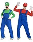 P.C.S.D スーパーマリオ 【 マリオ ルイージ 】 コスプレ 衣装 コスチューム 仮装 メンズ ( シャツ パンツ 帽子 髭 ) 大人 ハロウィン フリーサイズ 大きいサイズ (マリオ)