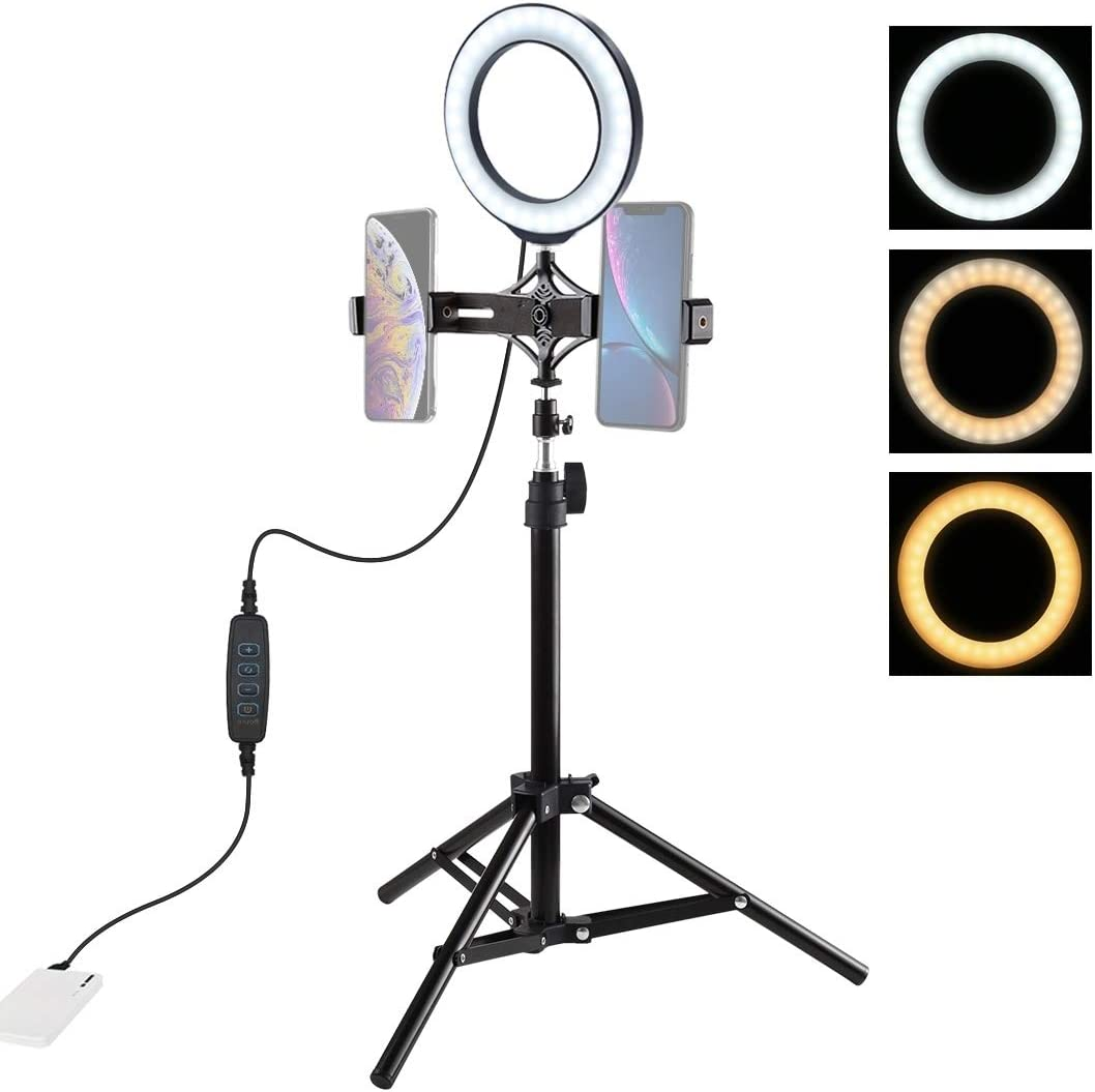 6.2 inch 16cm LED Ring Vlogging Video Light Kits CHENYANTUB Camera Accessories 70cm Tripod Mount Live Broadcast Dual Phone Bracket