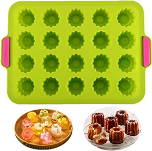 KeepingcooX 20 Cavity Jelly Mold Gourmet Cannele Bordelais Mould, Mini Muffin Tin, Silicone Baking Mold for 20 canelés, Cold and Heat-Resistant, Non-Stick Cupcake Form