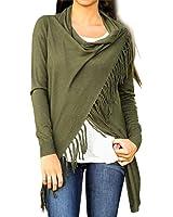 Sunward Fashion Womens Tassel Slash Tops Long Sleeve T-shirt Blouse Sweatshirt