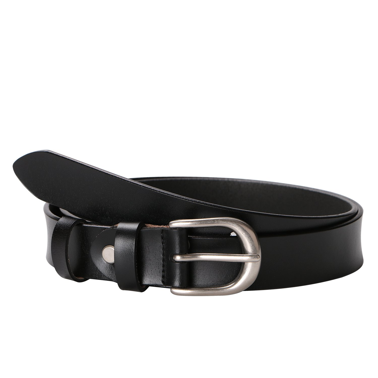 MoAnBee Women Leather Belt 28mm with Classic Polished Buckle, Solid Color Cowhide Leather Belt for Jeans