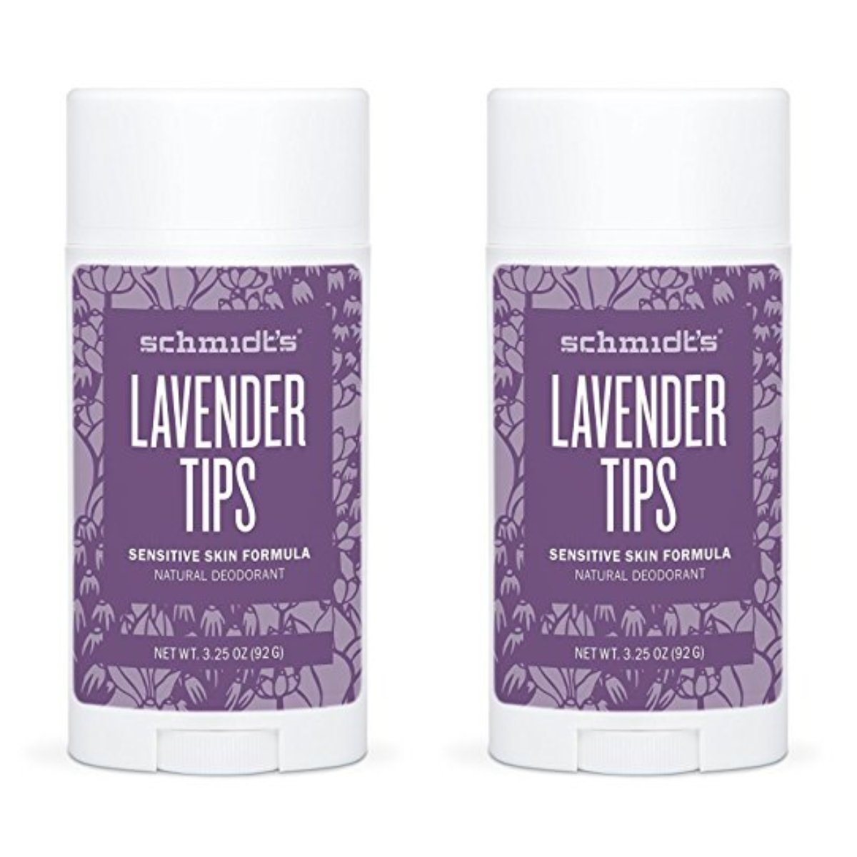 Schmidt's Natural Deodorant - Lavender Tips 3.25 Oz Sensitive Skin Stick; Aluminum-Free Odor Protection & Wetness Relief (Pack Of 2)