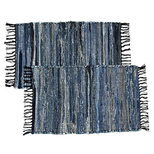 Recycled Rag Rugs - 2 Denim Chindi Doorway Rag Rugs 100% Cotton Recycled Blue Jean Entryway Woven Mat