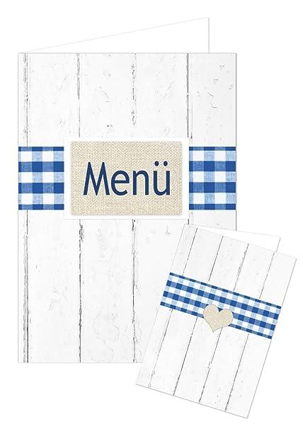 50 pieza azul blanco a cuadros bávaro blanca shabby madera ...