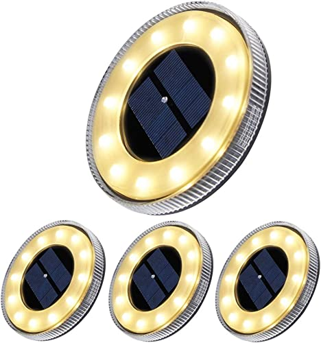 AMONE Disk Lights, Solar Ground Lights Outdoor Warm White, Waterproof 12 LED Solar Lights, Outdoor Walkway Deck for Patio Pathway Lawn Yard Driveway 4, 12LED White