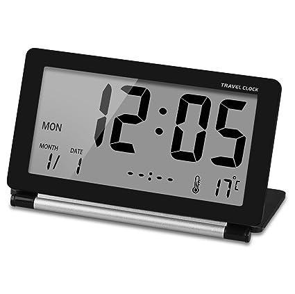 Reloj de viaje Ceebon, mini reloj plegable, silencioso, de viaje, electrónico,