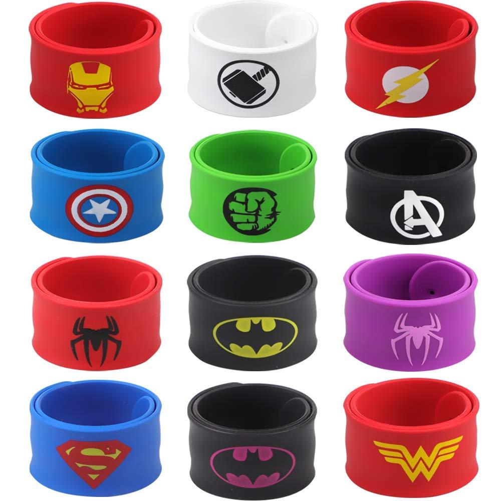 POKONBOY Superhero Slap Bracelets for Kids Party favors - 24 Pack Slap Bracelets for Boys Girls Kids Super Hero Birthday Party Favors Supplies Carnival Boys Prizes by POKONBOY (Image #2)