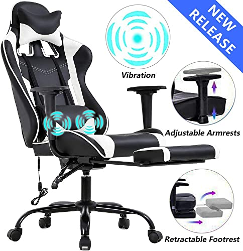 Gaming Chair Office Desk Chair High Back Computer Chair Ergonomic Massage PC Racing Chair with Lumbar Support Retractable Footrest PU Leather Recliner Rolling Adjustable Swivel Chair for Women Men
