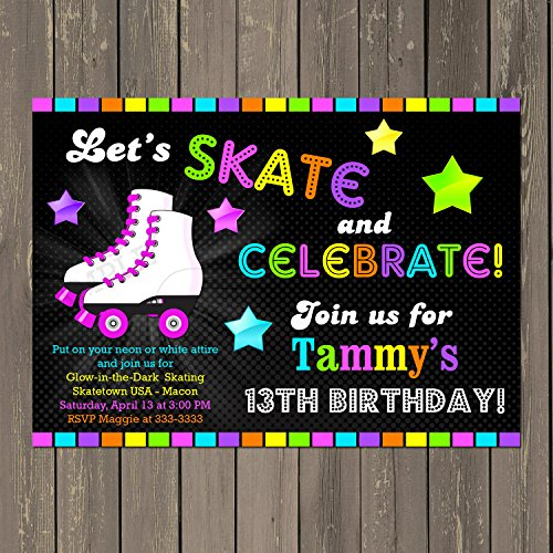 - Roller Skating Birthday Invitation, Skate Party Invitation, Glow in the Dark Neon Themed Invitation, fluorescent party, Custom