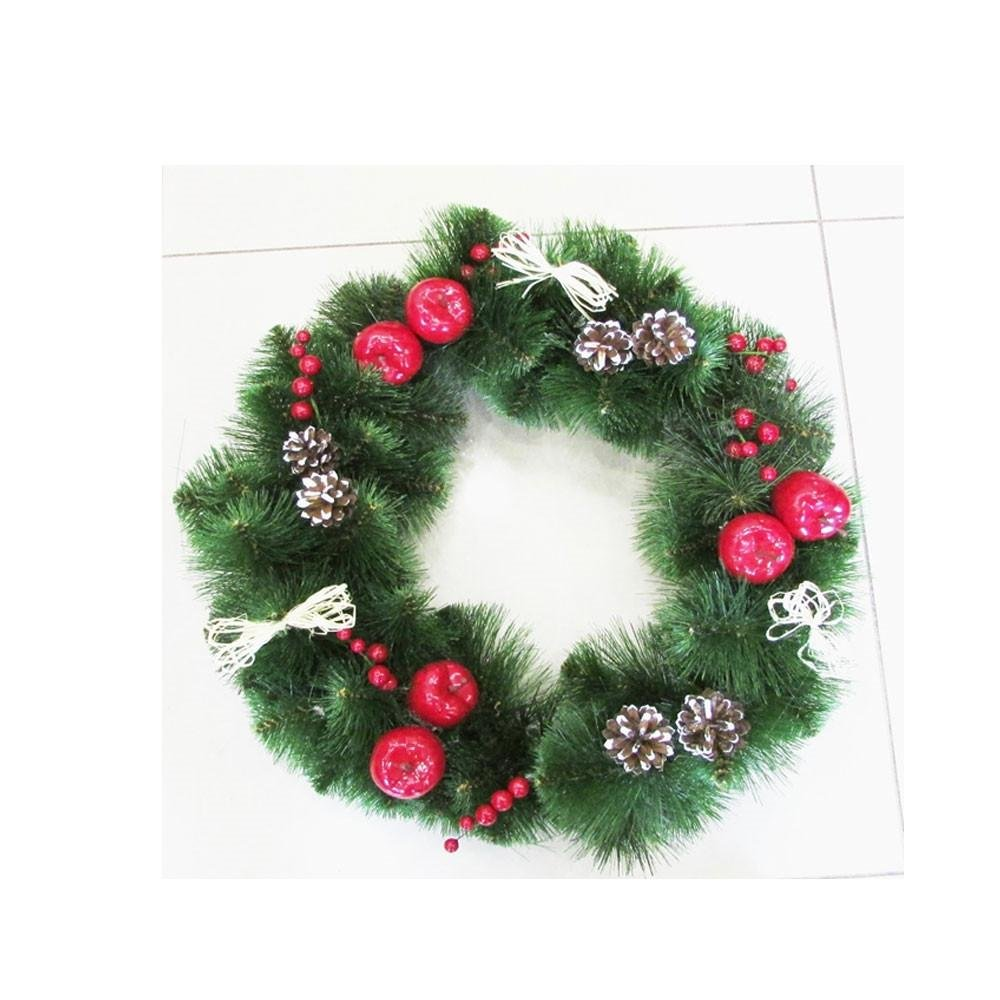 19.6'' Frosted Straw Bows, Apples, Berries & Pine Cones Christmas Wreath