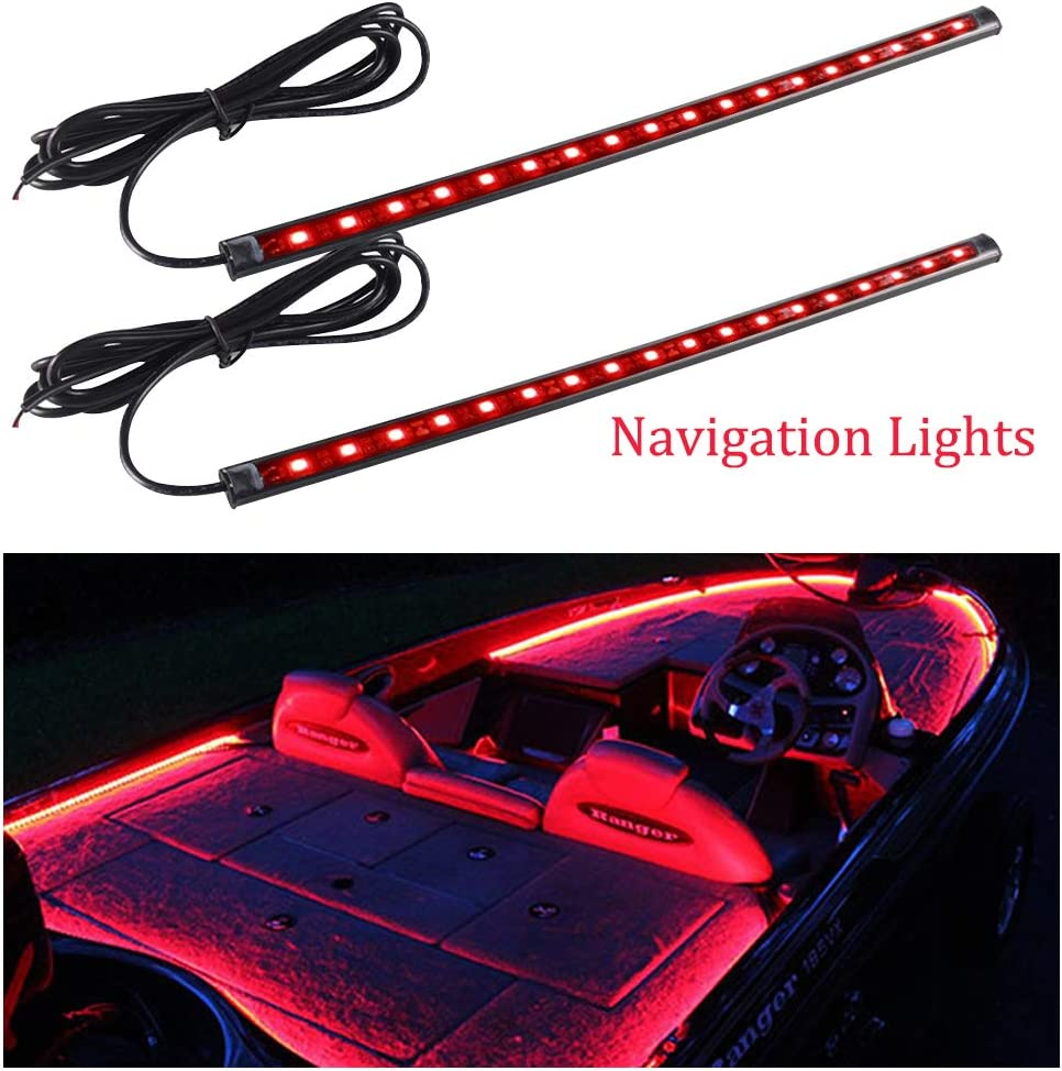 FICBOX 2PCS Marine Boat LED Navigation Lights 12 Inch Waterproof Bow String Lights Kits for Pontoon Boat Dinghy Kayak