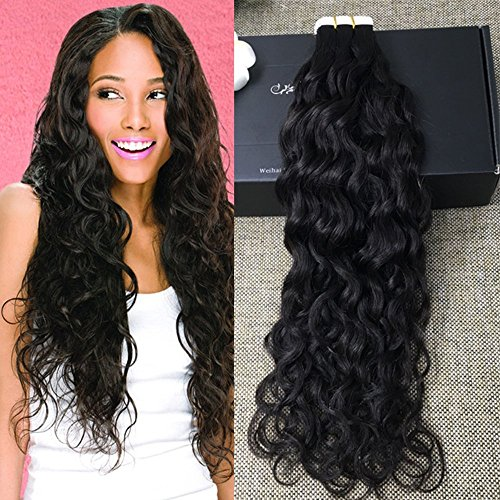 Full Shine 24 inch 50gram 20 Pcs Per Package Natural Black Tape in Hair Extensions Wavy Hair Extensions Skin Weft Professional Hair Extensions (Wavy Tape In Real Hair Extensions)