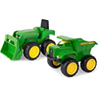 TOMY John Deere Sandbox Vehicle 2 Pack | Truck and Tractor Toy | Indoor and Outdoor Play |Toddler Friendly Toys | Construction Site Fun in the Sandbox