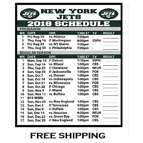 2018 New York Jets NFL Football Schedule and Scores Refrigerator Magnet #523